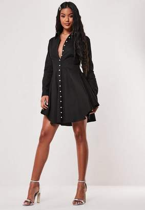 Missguided Black Pearl Button Skater Dress