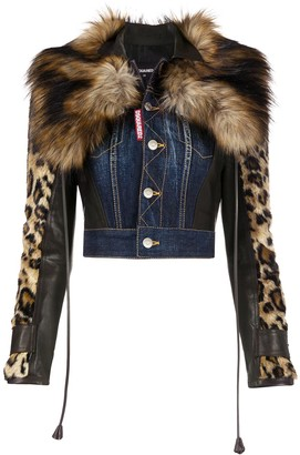 DSQUARED2 Leopard-Sleeve Cropped Denim Jacket