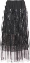 Brunello Cucinelli Layered Gathered Sequin-embellished Tulle Midi Skirt