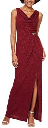 Alex Evenings Long Sleeveless Jacquard Knit Column Dress with Cowl Neckline (Wine) Women's Dress
