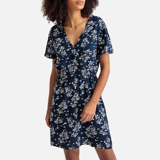 Best Mountain Floral Print Wrapover Dress with Tie-Back