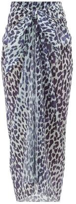 Marios Schwab Leopard-print Cotton-voile Sarong - Blue Print