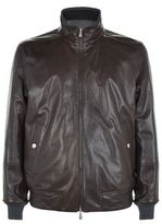 Brunello Cucinelli Reversible Leather And Herringbone Bomber Jacket