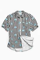 Urban Outfitters Globe Stripe Short Sleeve Button-Down Shirt