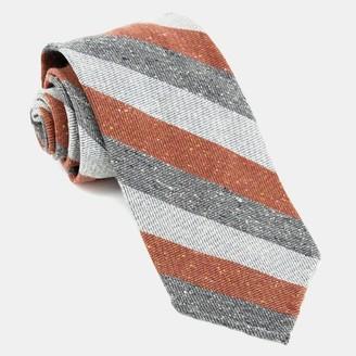 Tie Bar Unlined Textured Stripe Rust Tie