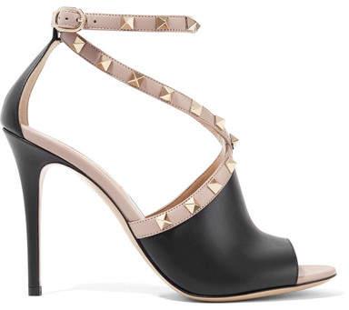 Valentino Garavani The Rockstud Two-tone Leather Sandals - Black