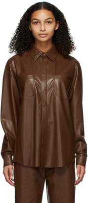 Nanushka Burgundy Vegan Leather Declan Shirt