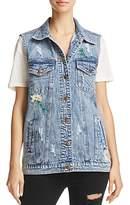 Honey Punch Floral-Embroidered Denim Vest
