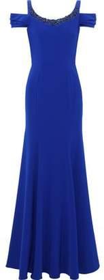 Marchesa Cold-shoulder Embellished Cady Gown