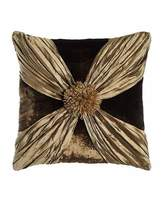 "Dian Austin Couture Home Gatsby Velvet Pillow with Crushed Silk Wrap, 20""Sq."