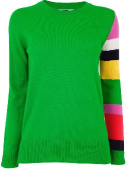 Jane Says - Apple Colour Block Sleeve Jumper - S - Green/Black/Yellow