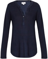 Velvet by Graham & Spencer Elvira linen-blend henley top