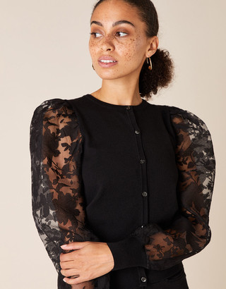 Under Armour Floral Sleeve Cardigan with Recycled Fabric Black