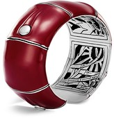 John Hardy Sterling Silver Bamboo Kick Cuff in Red Enamel, 32mm