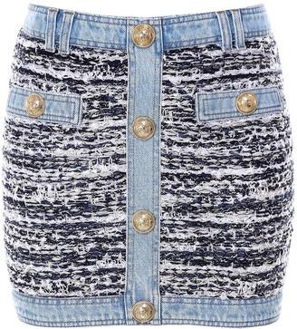 Balmain Button Embellished Denim Tweed Mini Skirt