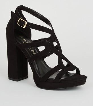 New Look Suedette Strappy Platform Heels