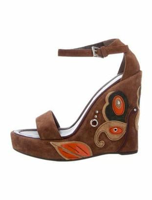 Prada Suede Printed Sandals Brown