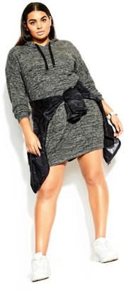 City Chic Soft Lounger Dress - charcoal