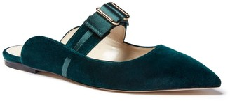 Mia Becar Marilyn Mule Flat Emerald Velvet