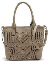 JOLLYCHIC Women's Hollow Leather Vintage Tote Bag Top Handle Handbag Shoulder Bag