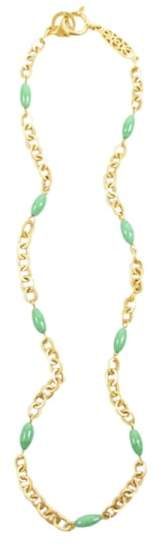Chanel Gold Tone Metal Green Chain Link Beaded Long Necklace