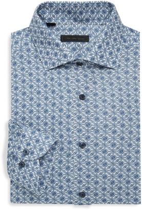 Saks Fifth Avenue Retro Floral Linen Dress Shirt