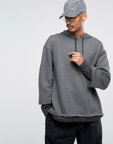 Asos Oversized Hoodie With Double Sleeve In Charcoal Marl
