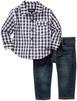 Hudson Plaid Shirt & Straight Jeans Set (Baby Boys)