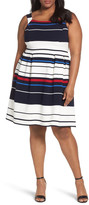 Adrianna Papell Stripe Ottoman Fit & Flare Dress (Plus Size)
