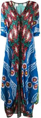 Afroditi Hera Draped V-Neck Maxi Dress