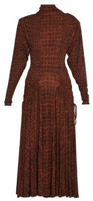 Proenza Schouler Crocodile-print Jersey Midi Dress - Womens - Black Brown