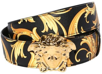 Versace 40mm Reversible Baroque Leather Belt