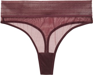 ELSE Bare Stretch-tulle High-rise Thong