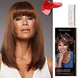 4 Item Bundle:(#717) Sienna Wig by Jon Renau, Human Hair Shampoo, Chiffon Scarf, Hairuwear Hairloss Booklet (Chocolate Cherry)
