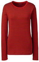 Classic Women's Tall Shaped Cotton Crewneck T-shirt-Ivory Stripe