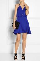 Milly Leather-trimmed stretch-silk dress