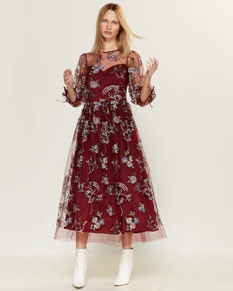Blugirl Embroidered Floral Midi Dress