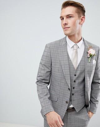 Burton Menswear wedding suit jacket in grey red check
