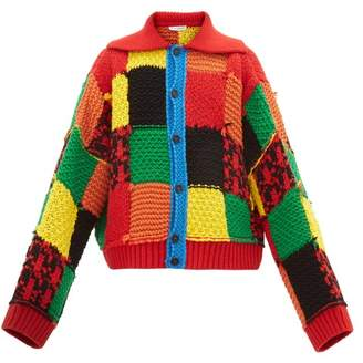J.W.Anderson Patchwork Chunky-knit Wool Cardigan - Mens - Multi