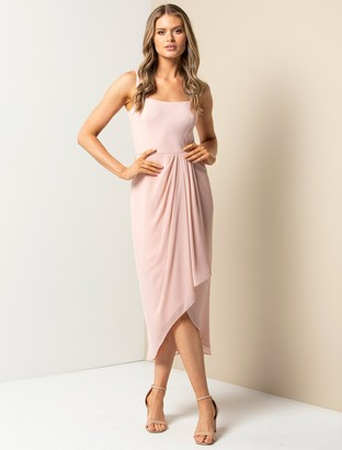 Forever New Lottie Square-Neck Two-in-One Midi Dress - Blush - 10