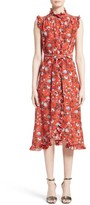 Erdem Women's Floral Print Ruffle Silk Dress