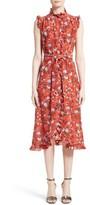 Erdem Women's Floral Print Ruffle Silk Dress