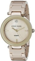 Anne Klein Women's AK/1018TNGB Diamond-Accented Dial Tan Ceramic Bracelet Watch