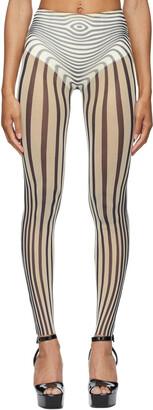 Jean Paul Gaultier SSENSE Exclusive Off-White & Navy Les Marins Body Stripe Leggings