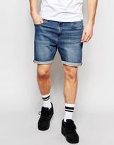 Asos Denim Shorts In Stretch Slim Dark Blue