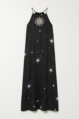 Christopher Kane Embellished Printed Crepe Midi Dress - Black