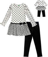 Dollie & Me Black & White Dot Tunic Set & Doll Outfit - Girls