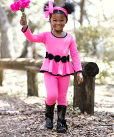 Pink & Black Sabrina Tunic & Leggings - Girls