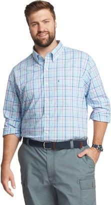 Izod Big & Tall Sportswear Premium Essentials Plaid Stretch Button-Down Shirt