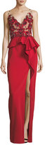 Marchesa Beaded Stretch-Faille Column Gown
